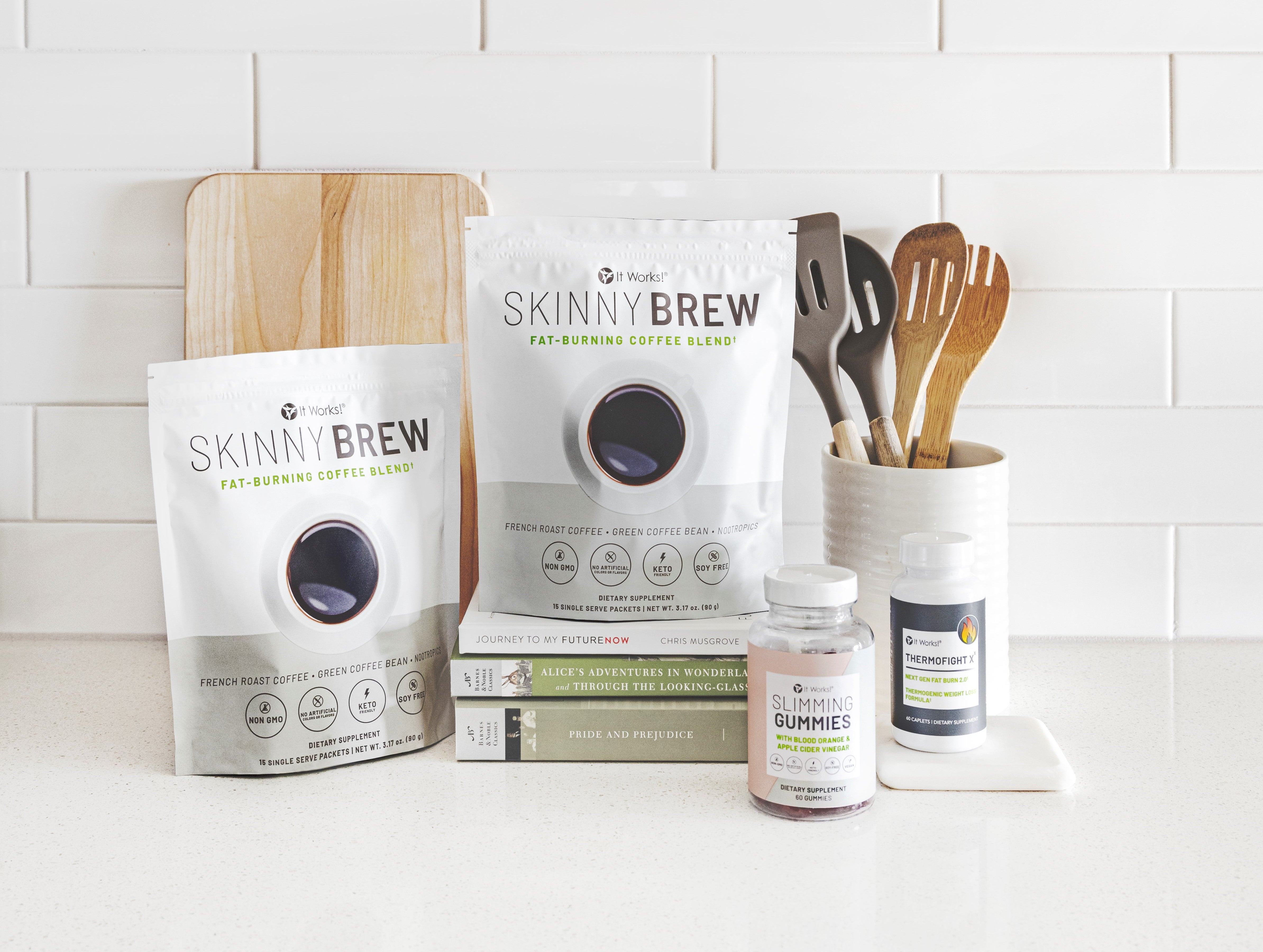 Skinny Brew, Slimming Gummies, Thermofight Xx on counter