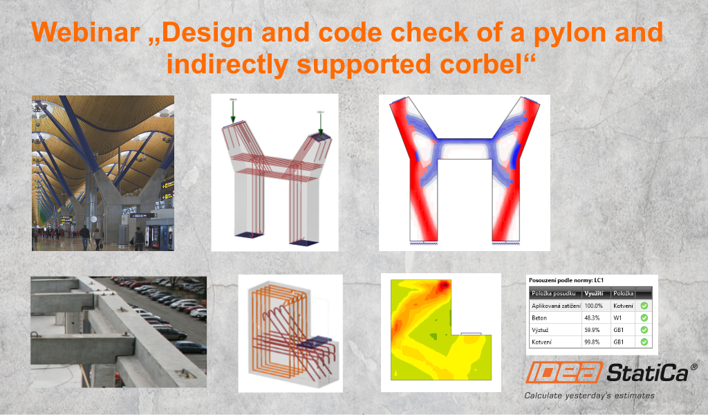 Design and code check of a pylon and indirectly supported corbel