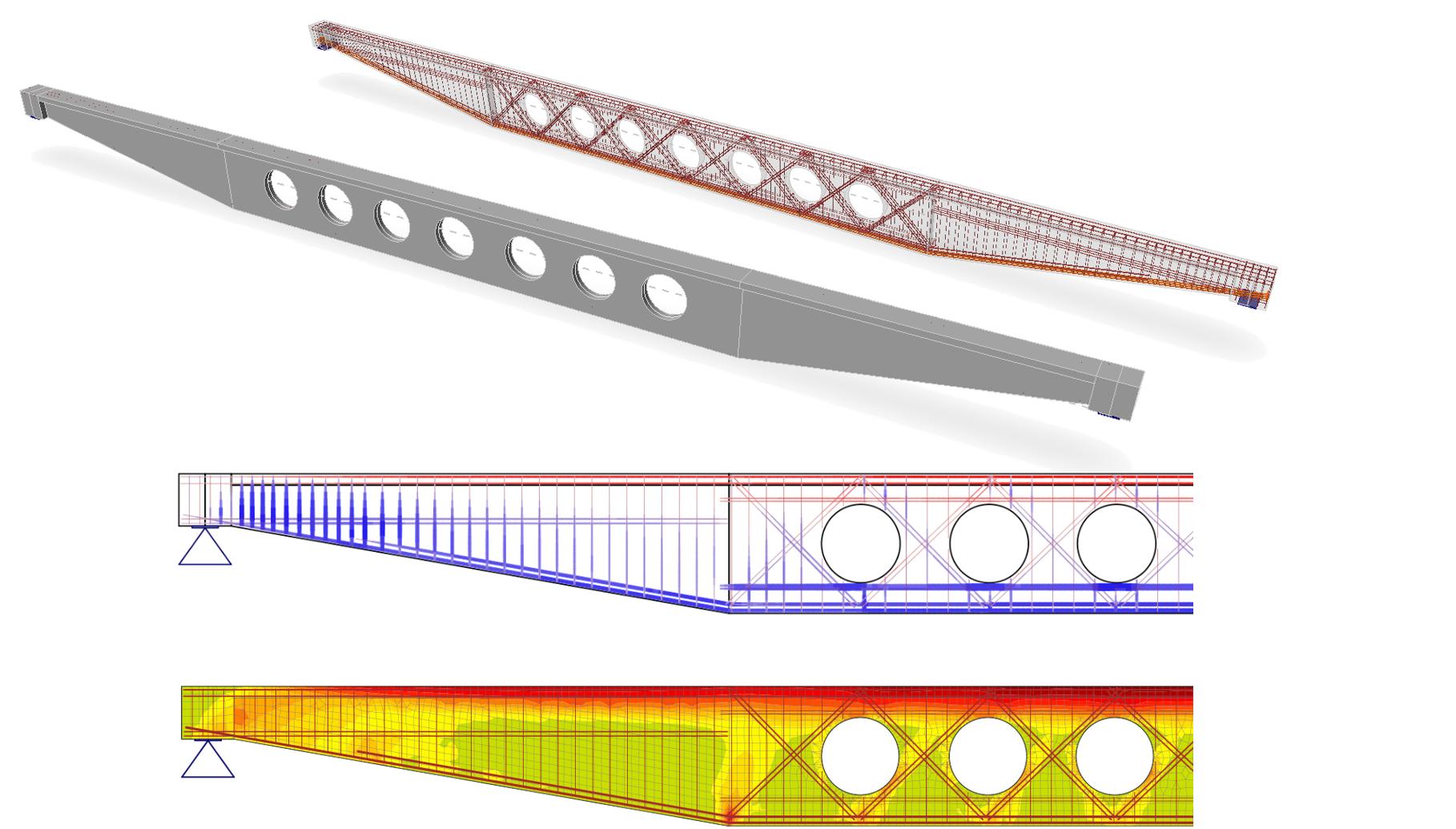 IDEA StatiCa Concrete Member liggers met uitsparingen openingen strut and tie methode
