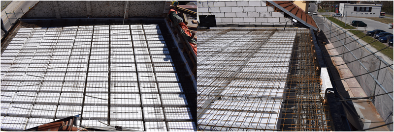 The prestressed concrete roof slab lightened by polystyrene blocks