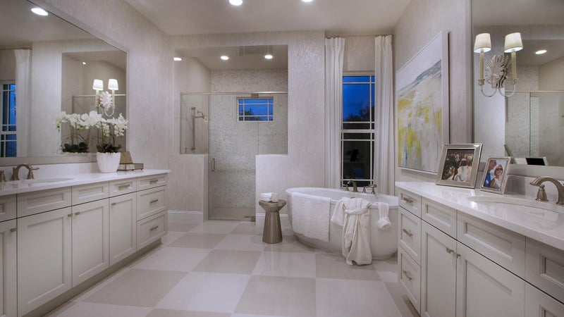 The Master Bathroom of The Montclair by STOCK Signature Homes at The Lake Club in Lakewood Ranch Florida