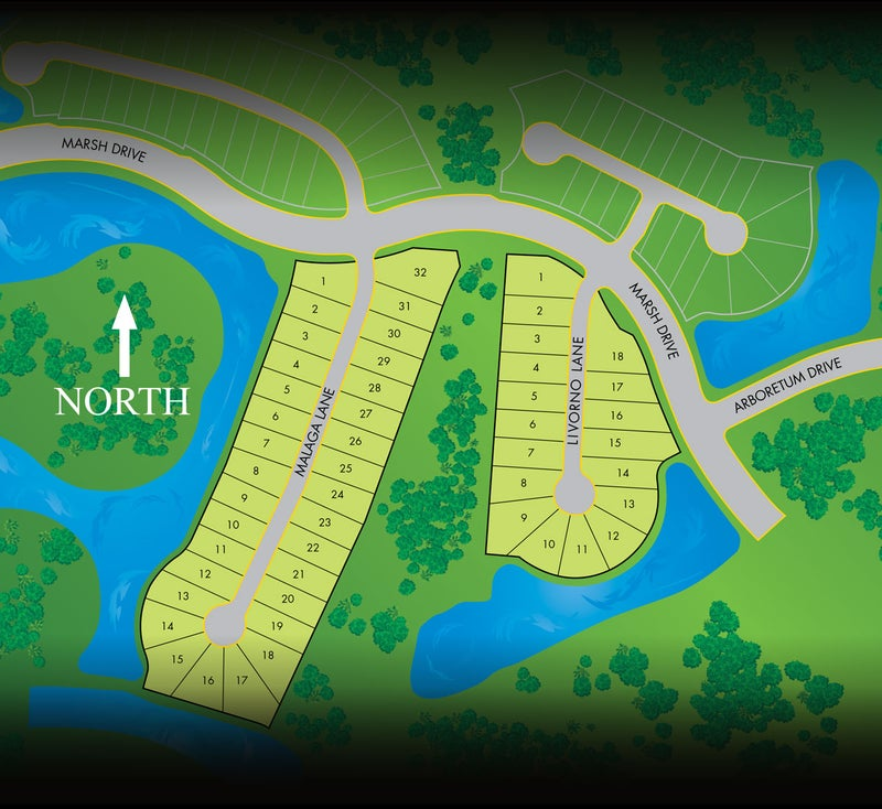 Site Plan for Malaga and Livorno in Marsh Cove at Fiddler's Creek in Naples Florida
