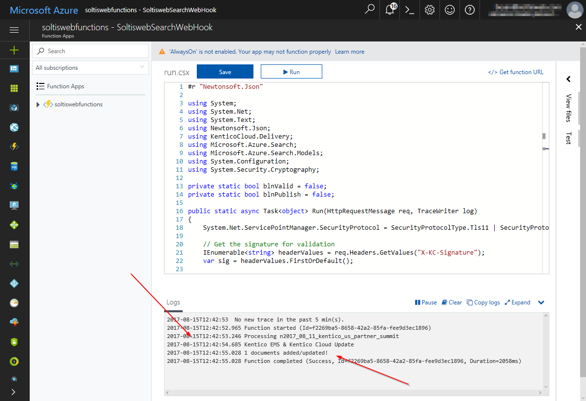 Using an Azure Function Webhook with Kentico Cloud | Kentico