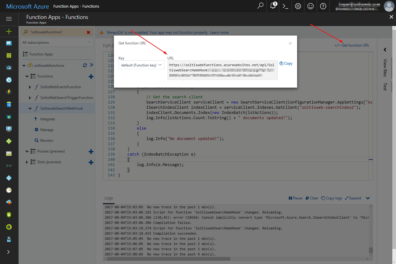 Using an Azure Function Webhook with Kentico Cloud | Kentico Cloud