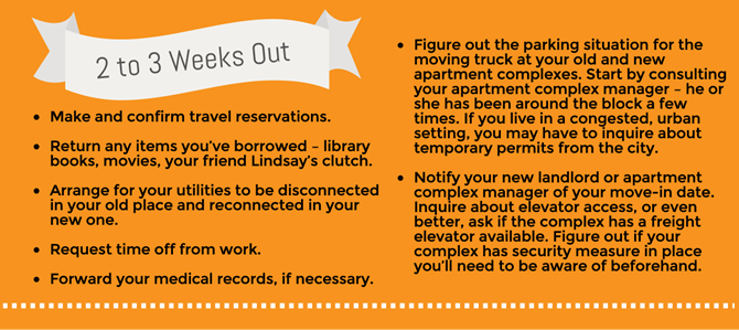 Make and confirm travel reservations. Return any items you've borrowed – library books, movies, your friend Lindsay's clutch. Arrange for your utilities to be disconnected in your old place and reconnected in your new one. Figure out the parking situation for the moving truck at your old and new apartment complexes. Start by consulting your apartment complex manager – he or she has been around the block a few times. If you live in a congested, urban setting, you may have to inquire about temporary permits from the city. Notify your new landlord or apartment complex manager of your move-in date. Inquire about elevator access, or even better, ask if the complex has a freight elevator available. Figure out if your complex has security measure in place you'll need to be aware of beforehand. Request time off from work. Forward your medical records, if necessary.