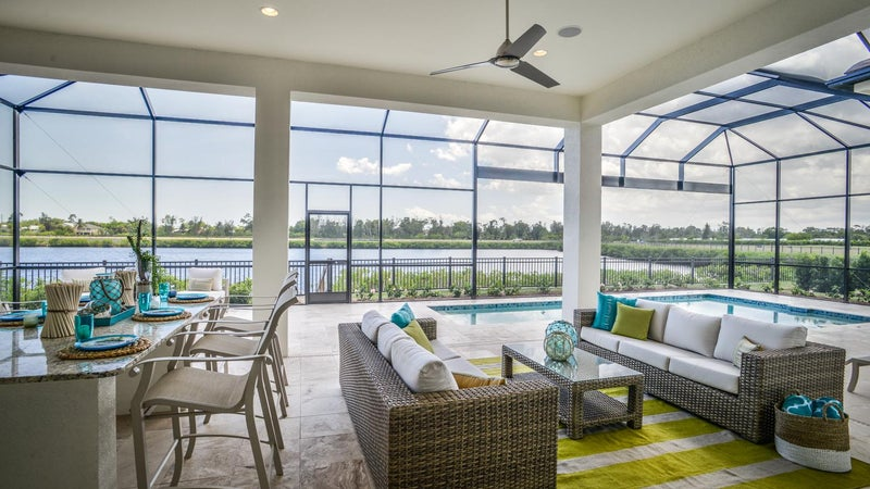 Outdoor Living at The Useppa by STOCK Signature Homes at Hidden Harbor in Fort Myers Florida