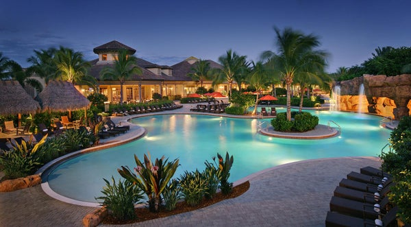 Lagoon Pool (Dusk) at The Players Club & Spa in Naples Florida