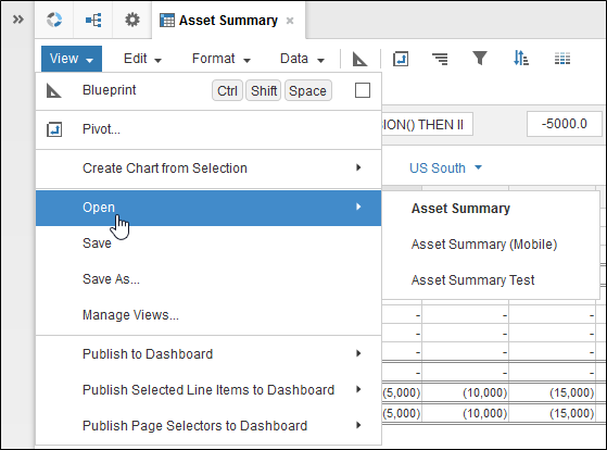 Anaplan Module Toolbar View Menu with Open Selected
