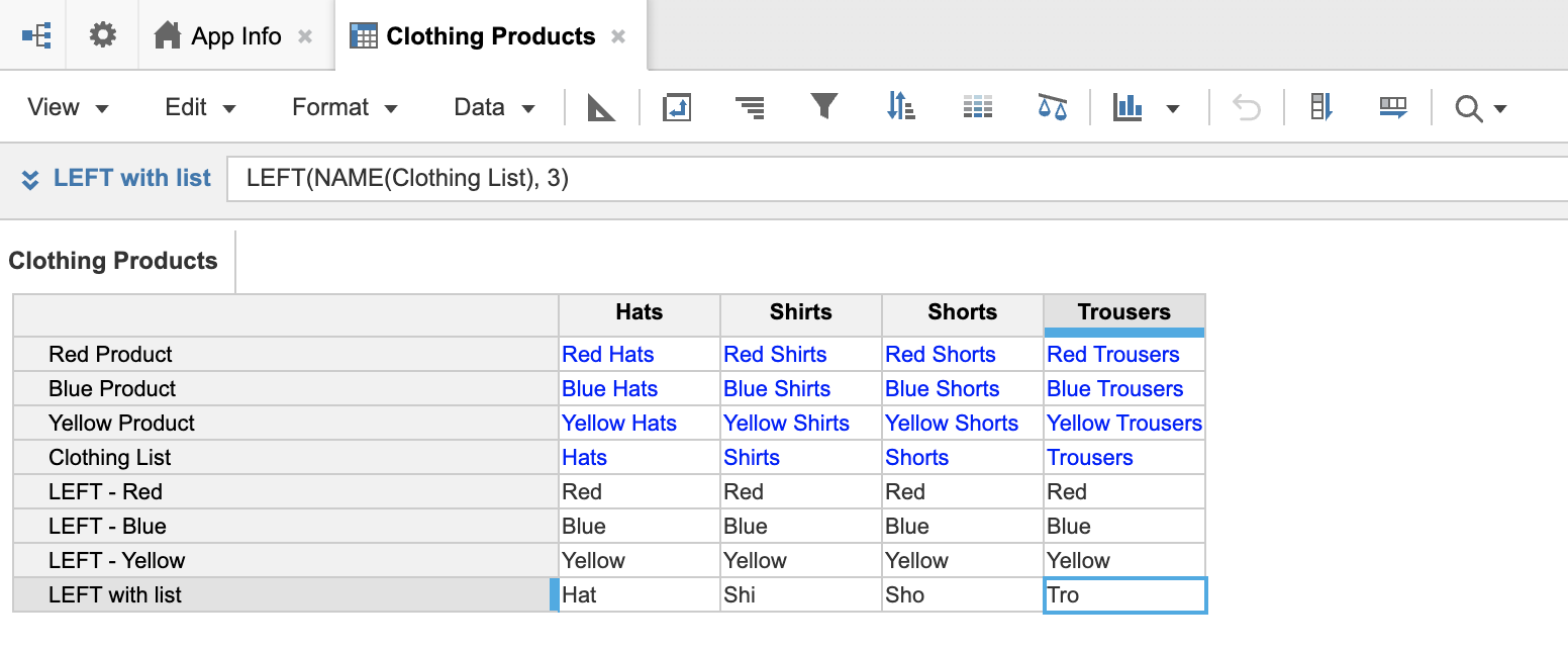 A module named Clothing Products. Line items display on rows, and there four columns for list-formatted clothing products.