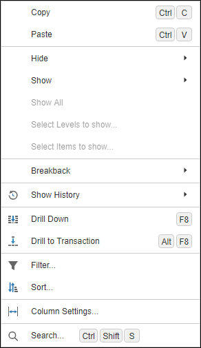 Dashboard Context Menu