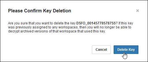 Popup asking you to confirm deletion of an encryption key