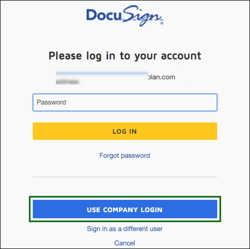DocuSign Login page with Password field, LOG IN and USE COMPANY LOGIN buttons