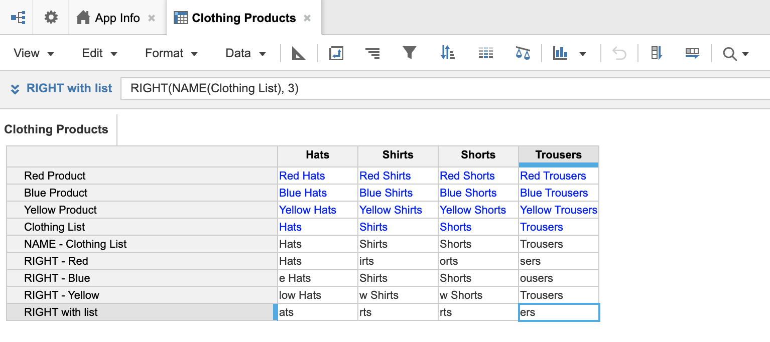 A module named Clothing Products. Line items are on rows, and there are four columns that display the Clothing list.