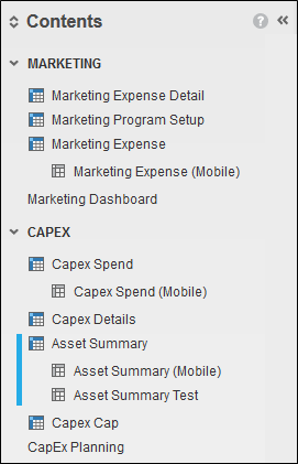 Anaplan Contents View
