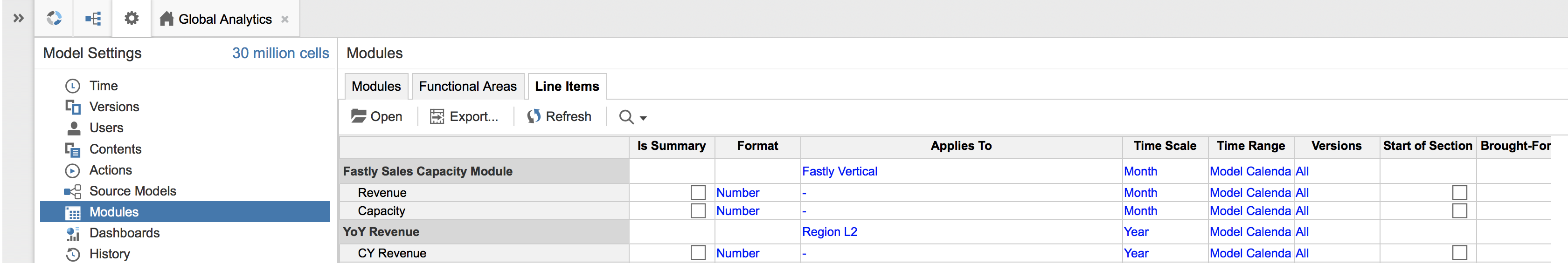 An Anaplan model with Modules selected in Model Settings, and Line Items selected within Modules. Line Items are listed in the first column, with settings in the columns to the right.