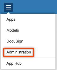 Adminstration App listed on menu app