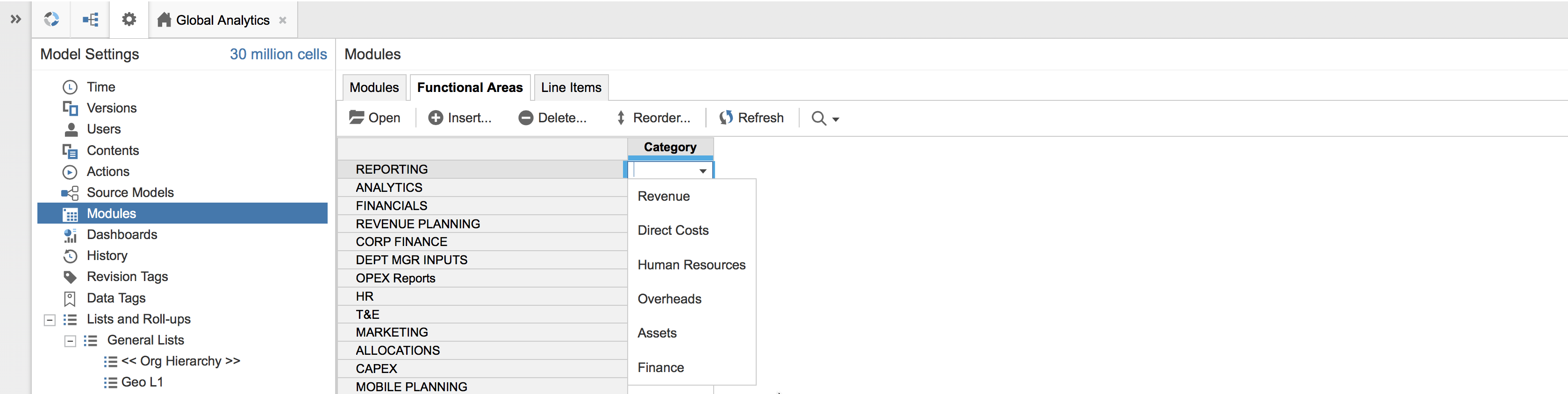 An Anaplan model with Modules selected in Model Settings, and Functional Areas selected within Modules. The Category field is selected for one of the functional areas, so that the Category dropdown displays.