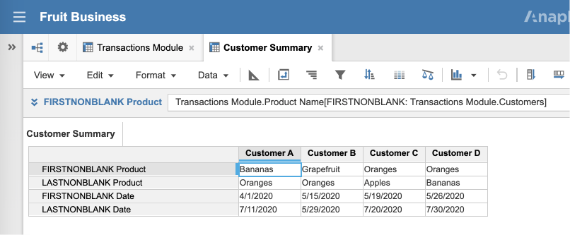 A view of the Customer Summary module. Two line items called FIRSTNONBLANK Product and FIRSTNONBLANK date show the first non-blank item for their respective line items in the Transaction Summary module for each customer in the Customers list.
