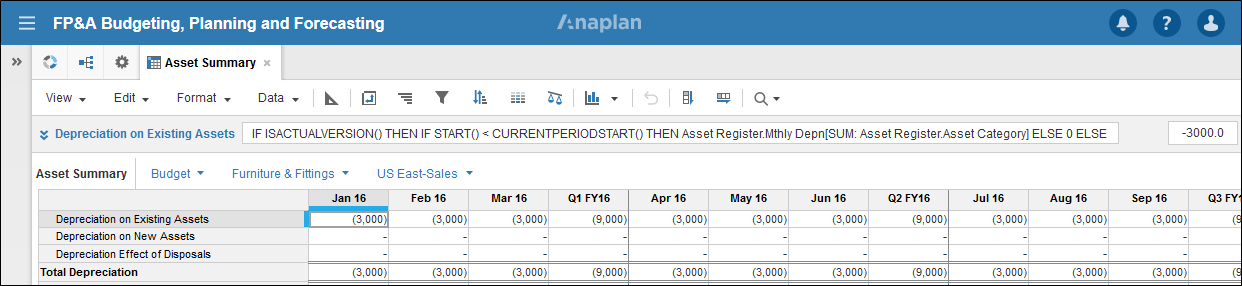 Screenshot of an Anaplan Module showing the Global Header Bar with a Notification Indication