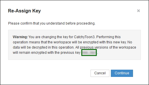 Reassign Key popup with Cancel and Continue buttons and a warning indicating that previous versions of the workspace remain encrypted with the old key.