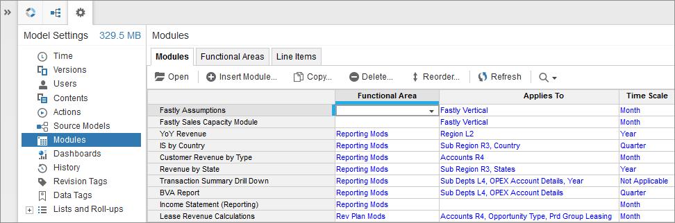 Image: Modules tab in Model Settings.