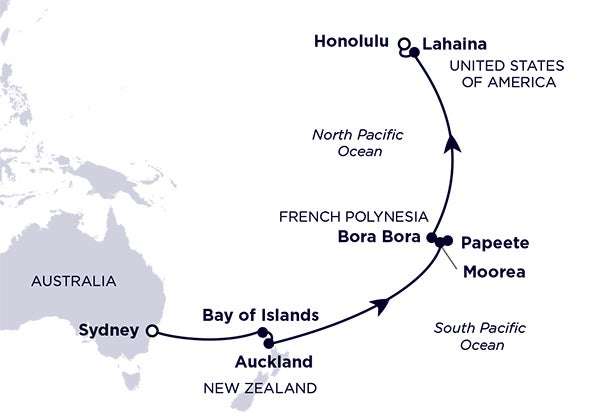 Sydney, Bay of Islands, Auckland, Moorea, Papeete, Bora Bora, Lahaina, Honolulu