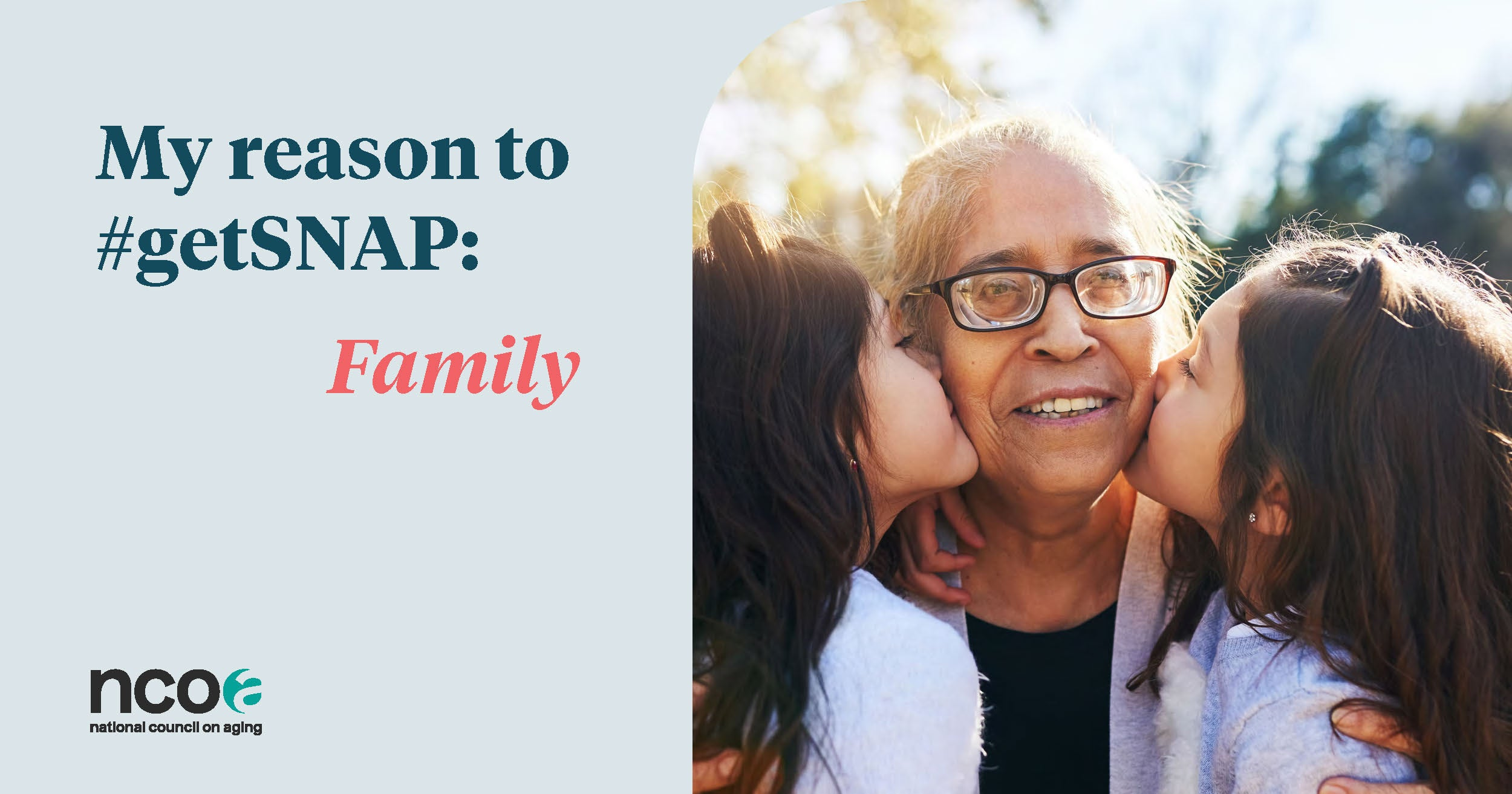 Older woman with grandchildren saying reason to #getSNAP is family