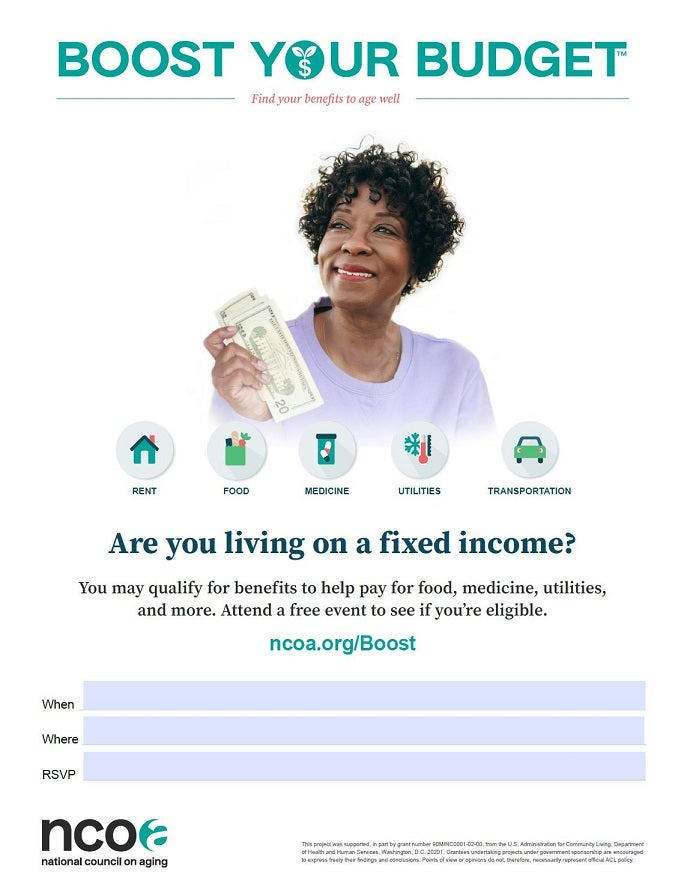 Sample poster showing woman holding money with icons for benefits categories