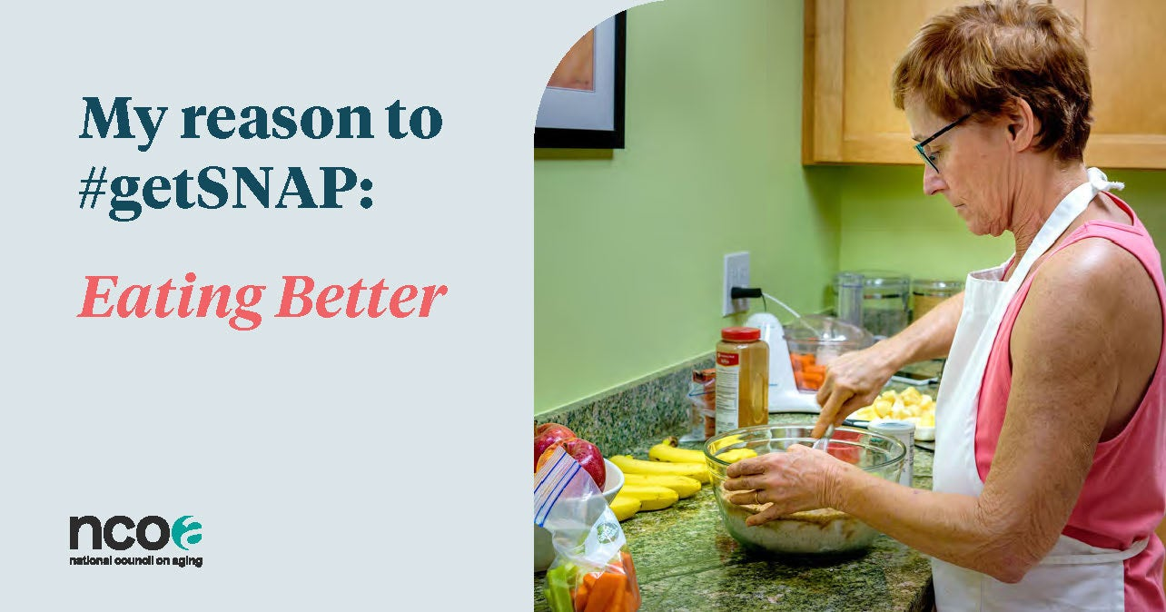 Woman cooking next to reason to #getSNAP: eating healthy
