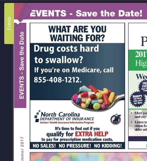 Magazine ad with phone number for free services of the NC SHIIP