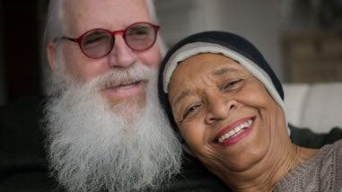 Senior couple white male black female