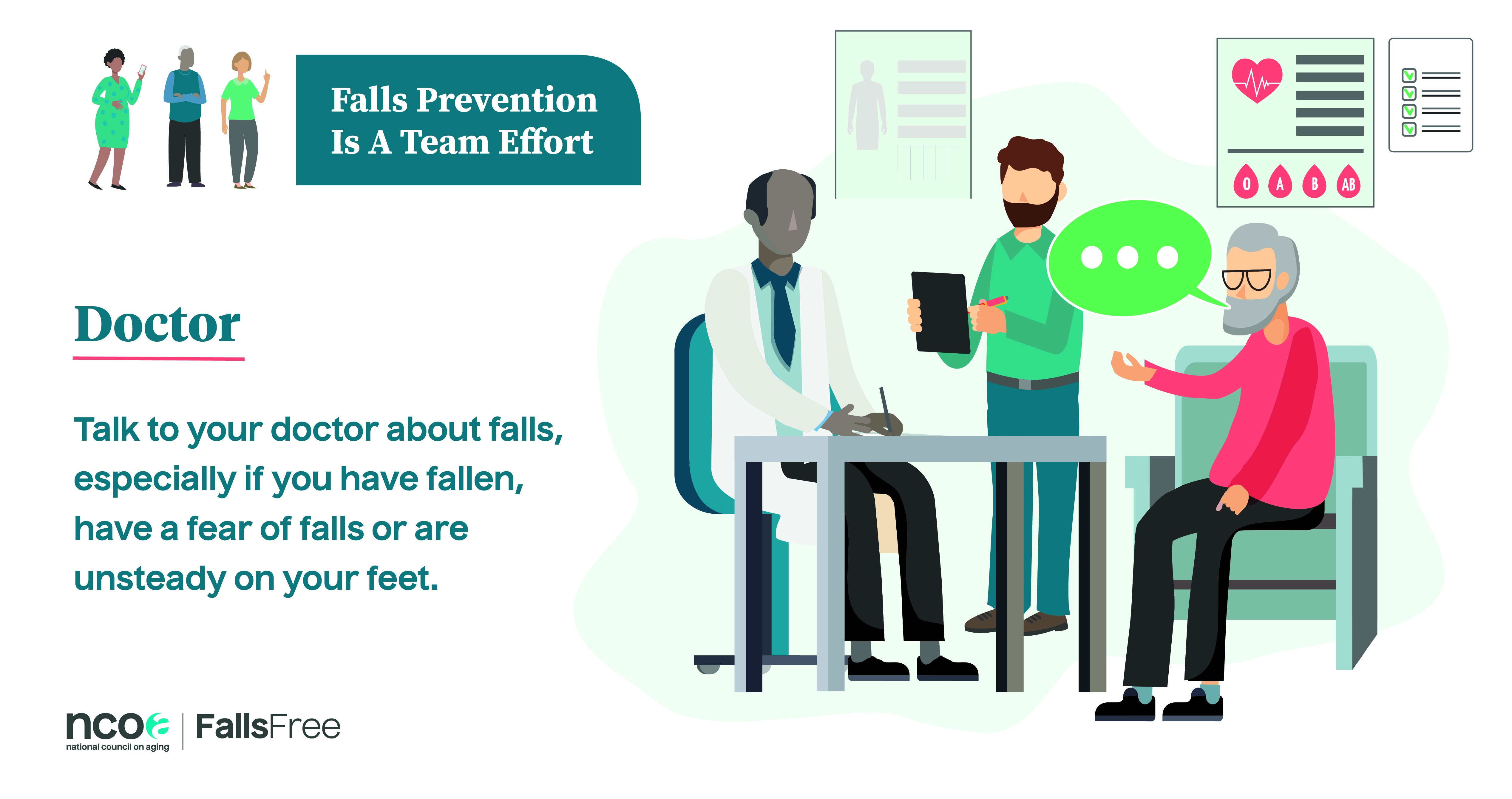 Falls prevention is a team effort. Talk with your doctor about falls.