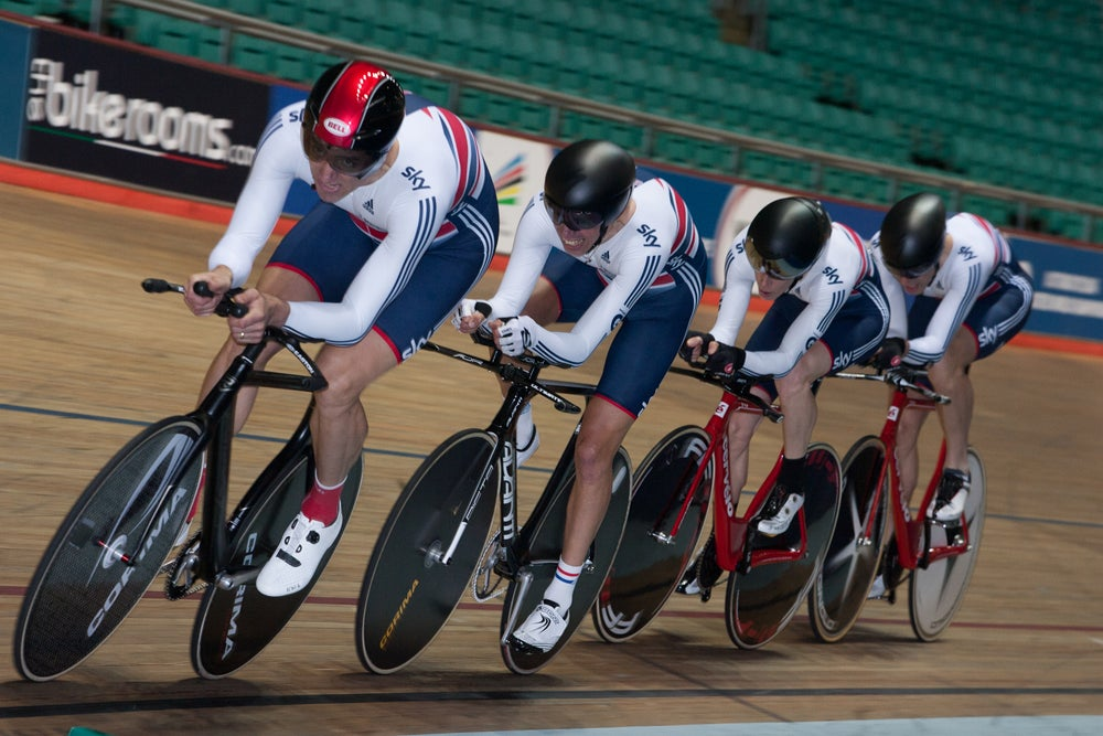 In action at the UCI Masters Track Cycling World Championships 2015 on our way to the silver medal. I'm third man.
