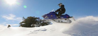 Snowmobile rider enjoying the ride