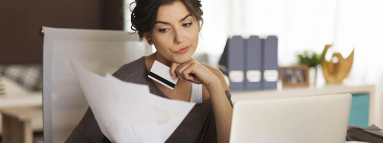 Woman checking credit report
