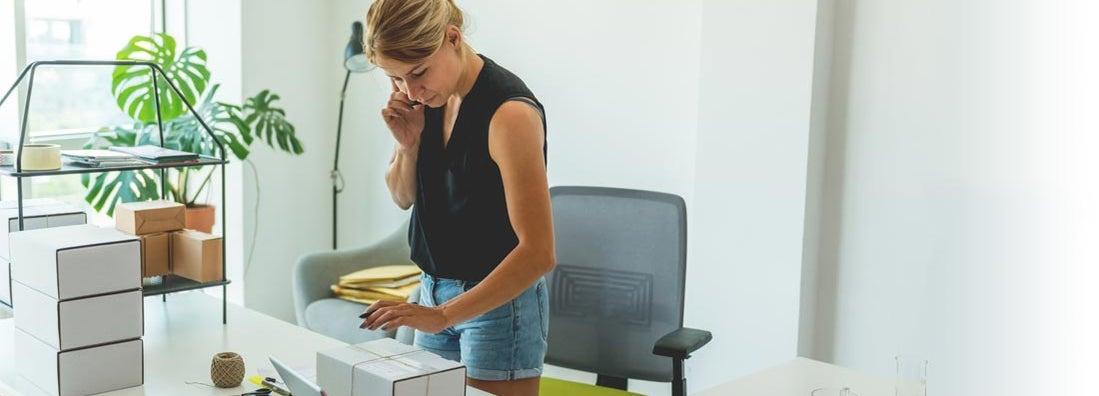 A woman runs an eBay business from home