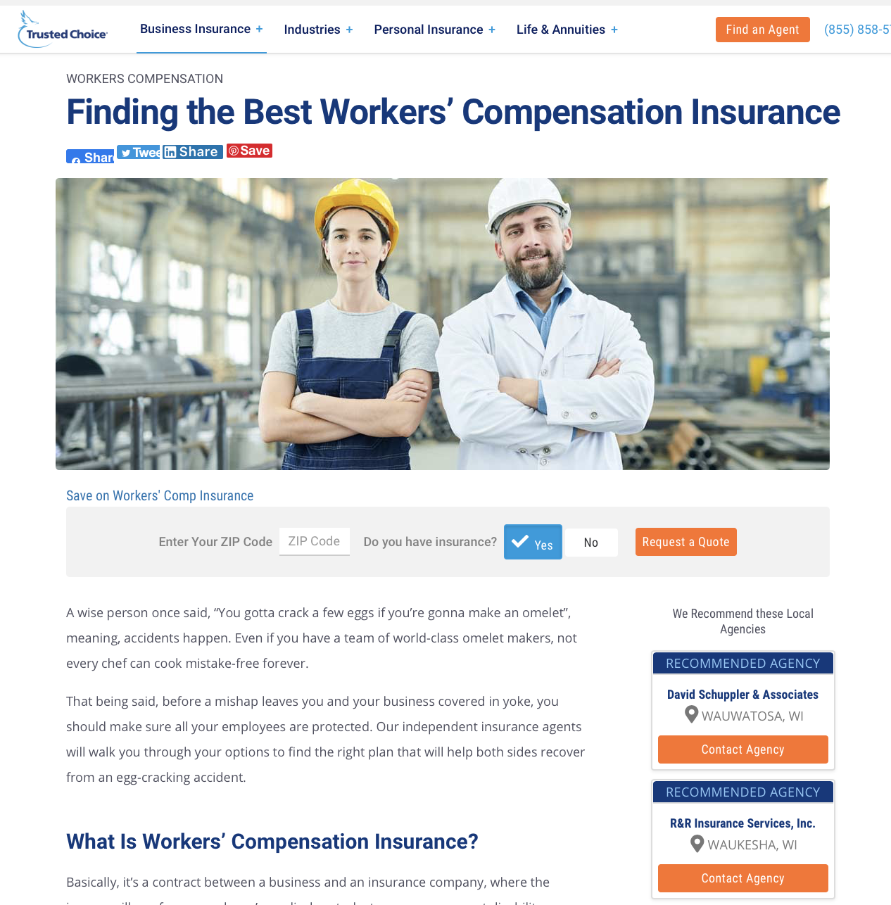 Recommends local independent insurance agents to shoppers searching the Internet.