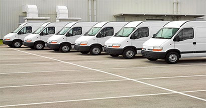 commercial vehicles in a line
