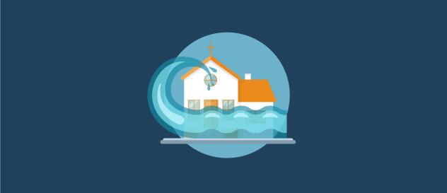church water damage illustration