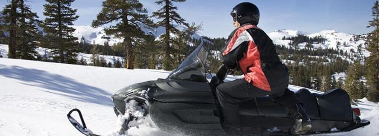 Safe snowmobile rider in the forest
