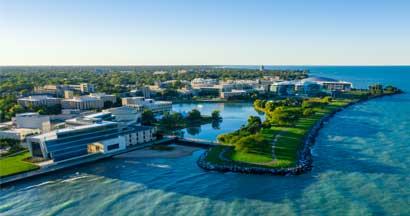 Aerial view of Northwestern University campus.