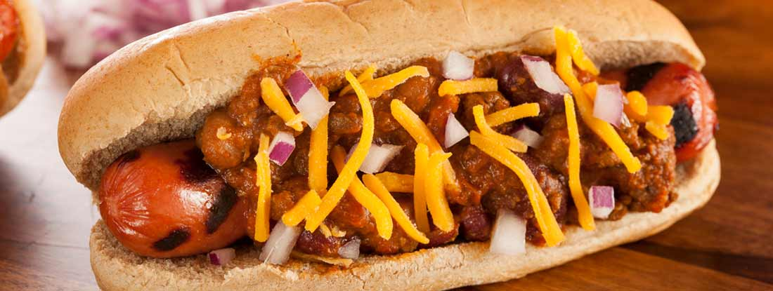 Coney hotdog on wooden countertop