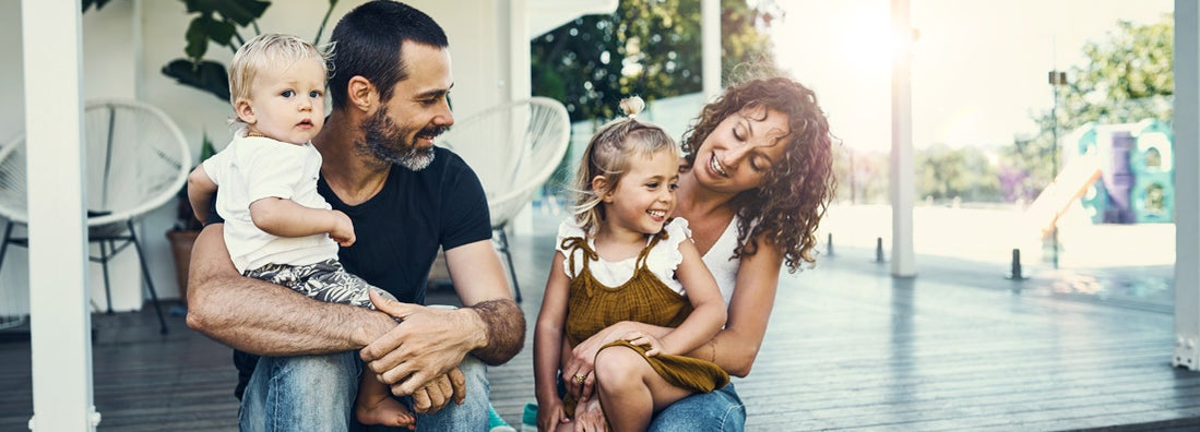 Young family spending time together at home