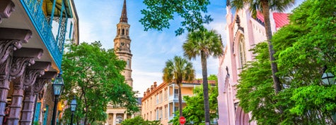 Charleston, South Carolina, historic downtown cityscape.