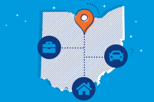 ohio car, home and business icons