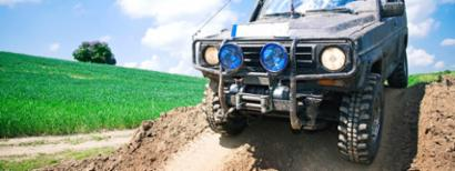 Off-road vehicle driving in the mud