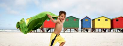 Boy running on the beach
