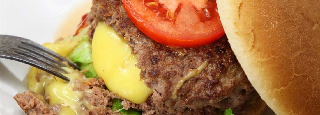 Close-up of Juicy Lucy cheeseburger