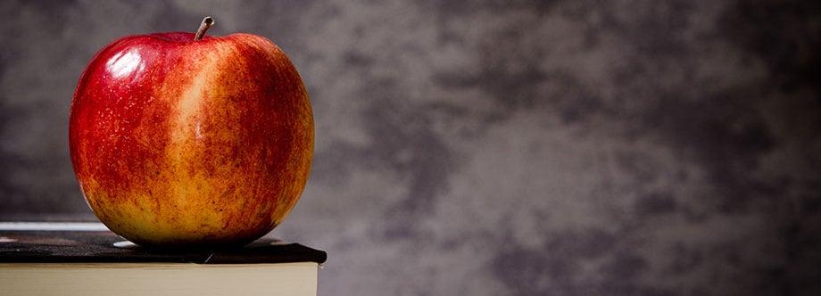 teachers apple on desk