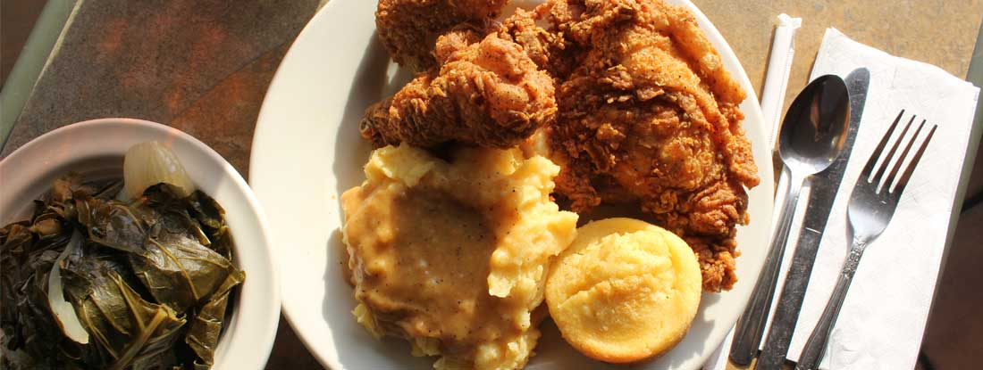 Soul food - Fried Chicken, Mashed Potatoes, Collard Greens and Cornbread